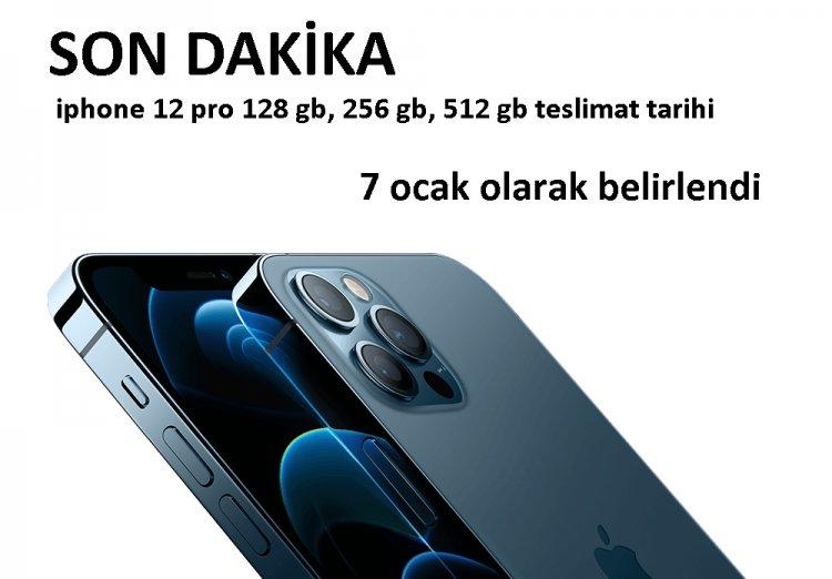iphone 12 pro 128gb, 256gb, 512gb Teslim tarihi 29 Aralık - 7 Ocak olarak belirlendi.